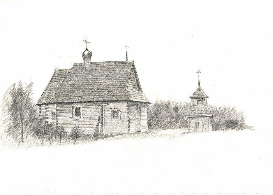 Sketch of a Belarusian church by Tszwai So of Spheron Architects