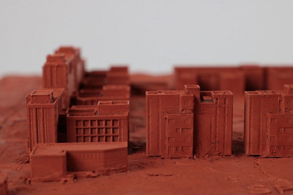 Aga Khan Academy Dhaka study in clay, by FCB Studios in a joint venture with Shatotto. Model and photograph by Cassidy Wingrove, FCB Studios.