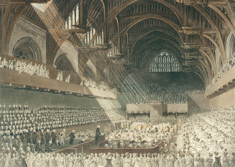 The Trial of Henry Lord Viscount Melville in Westminster Hall print by J. Hill after a drawing by Augustus Charles Pugin and John Claude Nattes (1846)