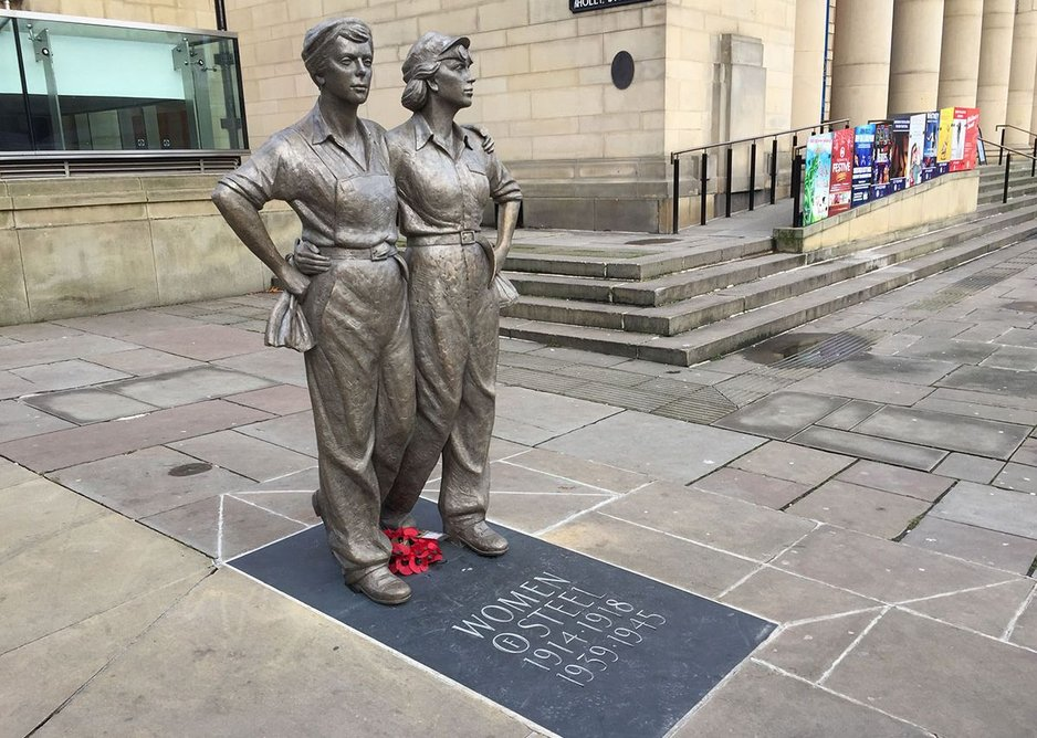 The Women of Steel statue in Sheffield honours the South Yorkshire women who took jobs in factories and steel mills during the First and Second World Wars.
