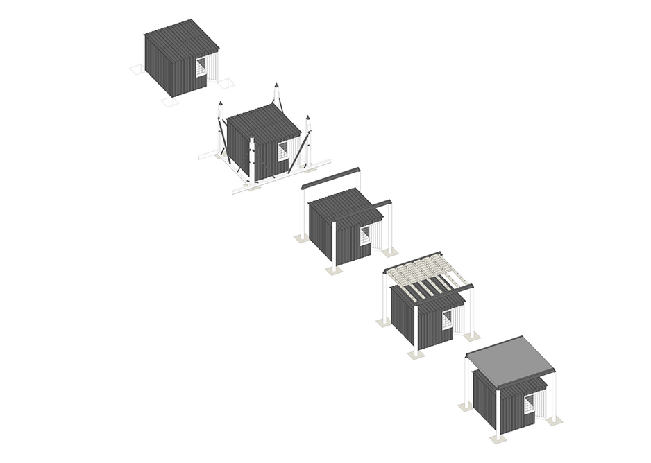 Drawing of the construction process of the Table House, an exercise in simple design.