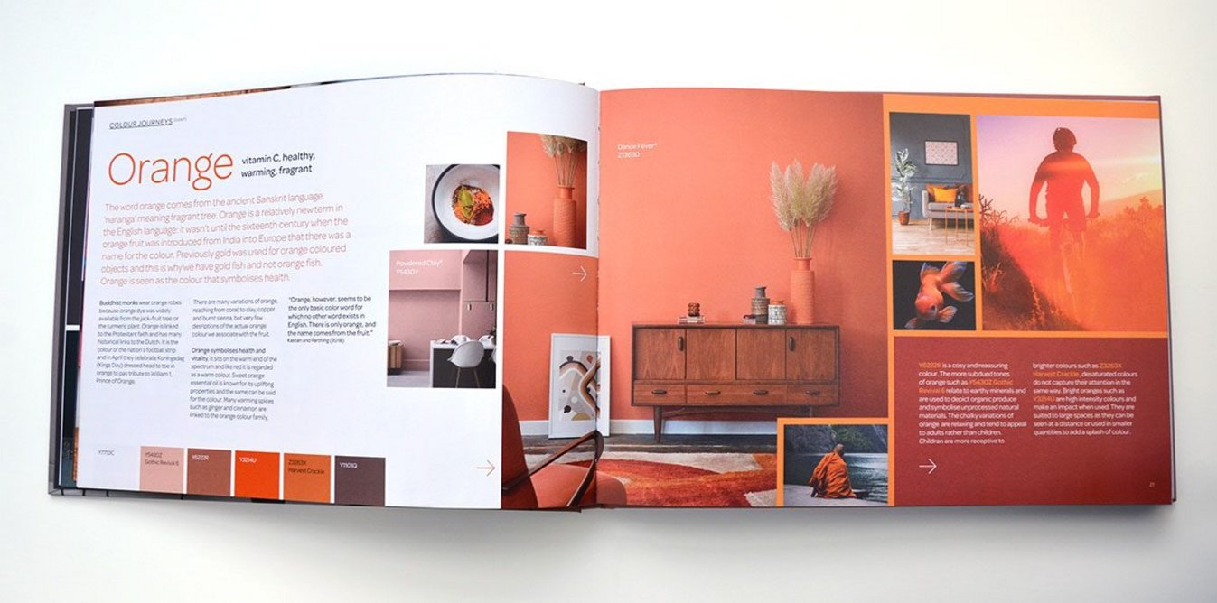 The colour journey of orange: From chalky and earthy to saturated and intense.