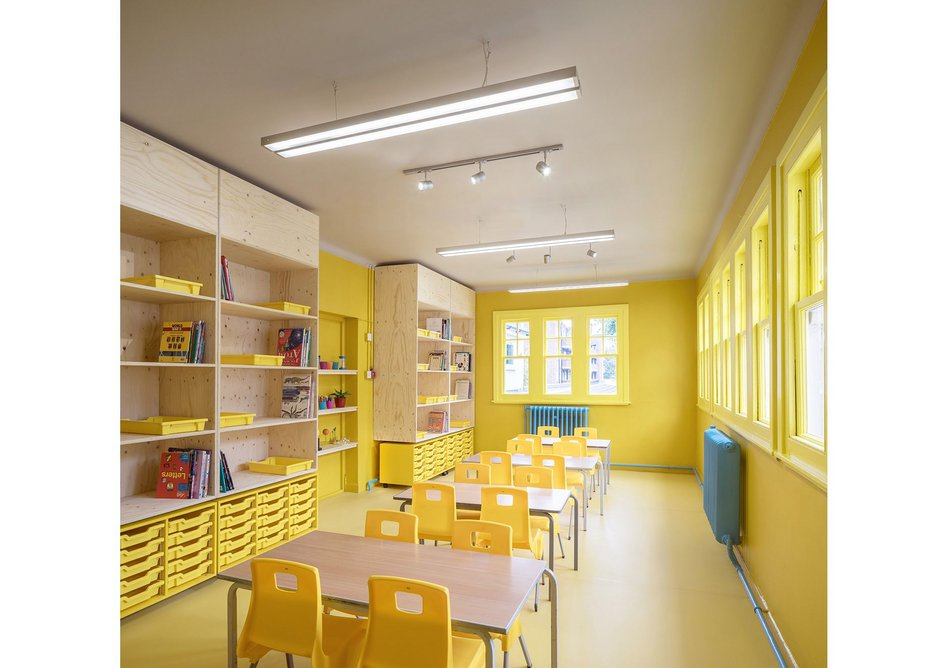 Science and art classrom with radiators in turquoise.