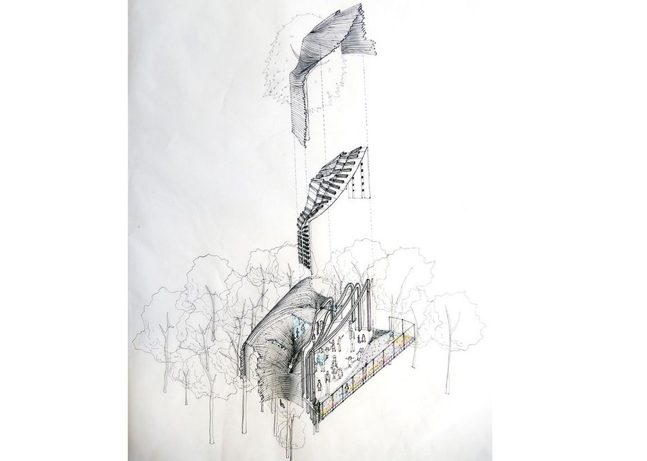 First year live projects – a treehouse for Stansfield Park. Kimberley Lau's axonometric