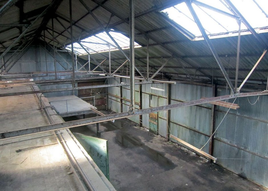 The interior of the original packing station.