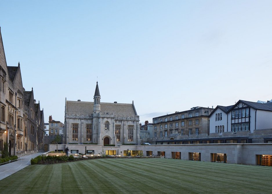 Magdalen Library with its low perimeter extension defining a quad.
