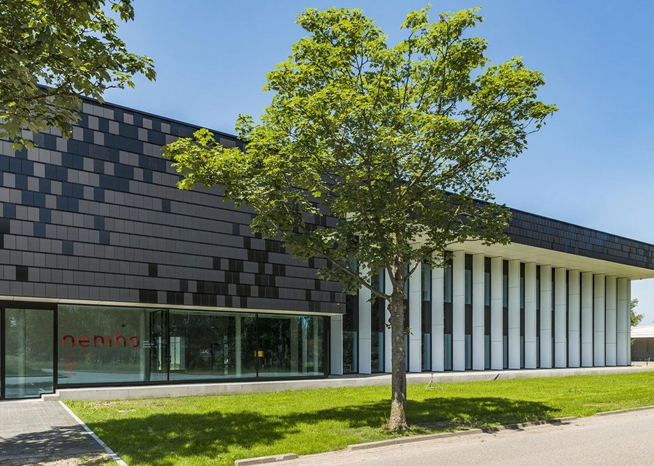 Trespa Meteon cladding in Metropolis Black at Nemho (Next Material House),  Trespa's research and development centre in Weert, Netherlands.