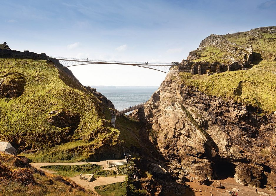 Soon to be complete, Tintagel Castle Bridge for English Heritage is an international competition win.