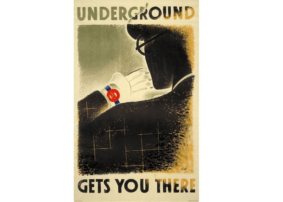 Underground gets you there, by Zero (Hans Schleger), 1935 © TfL from the London Transport Museum collection.  From Émigré Poster Designers, London Transport Museum, part of the Insiders/Outsiders festival.