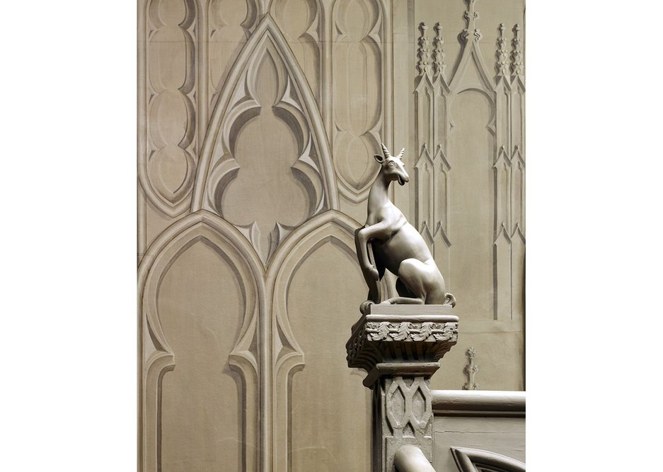 Antelope in hall at Strawberry Hill.