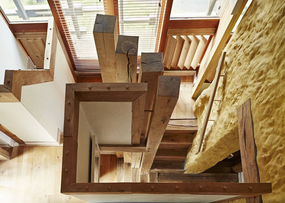 The green oak stair from above. It has to deal with a number of level changes.