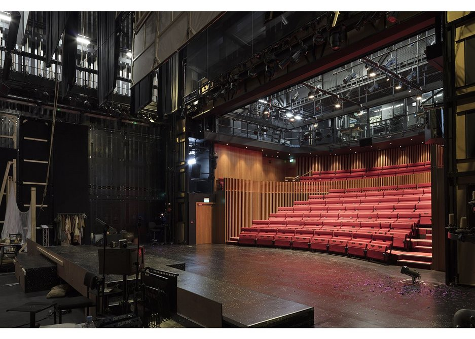 Almost like a set for a TV show but with theatre red seating.