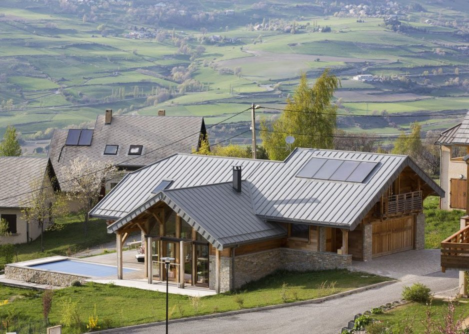 Quartz-Zinc standing seam roofing at private house, Embrun, France.