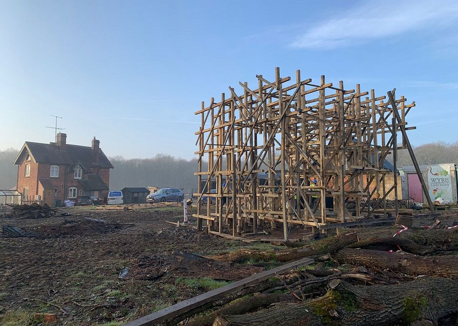 On site with Prototype, Unit XV, MArch II students at Welsh School of Architecture, Wyre Forest, 2018, tutors Kate Darby and Gianni Botsford.