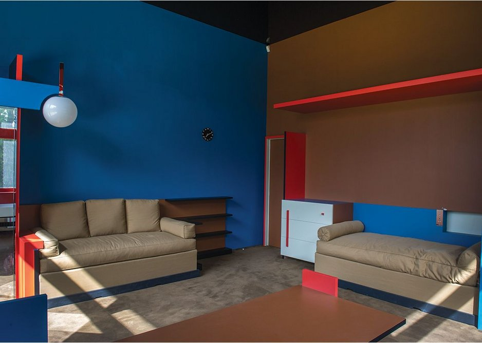 The young masters' room painted using De Stijl principles.
