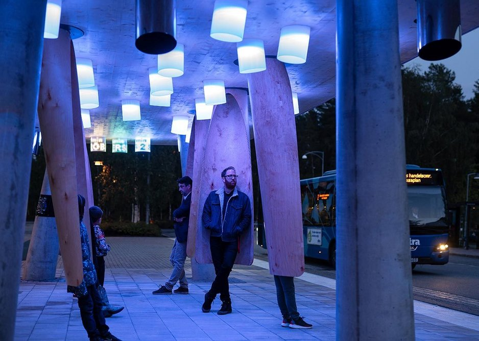 The Station of Being, an immersive and 'smart' bus stop by Rombout Frieling Lab and Research Institutes of Sweden, Umeå at the Beazley Designs of the Year exhibition.