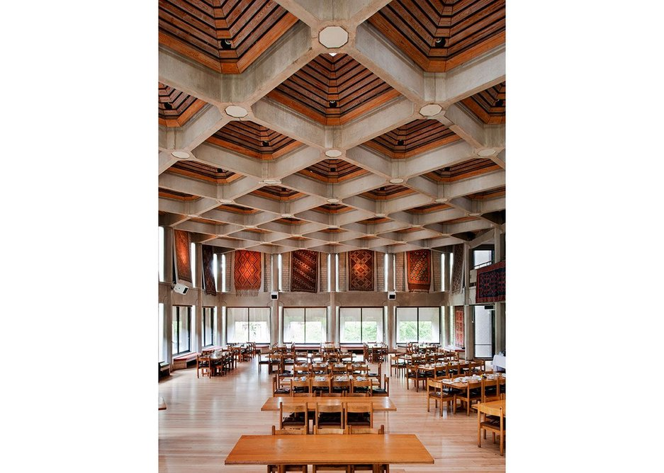 The dining hall of the Hilda Besse building at St. Anthonys College Oxford.