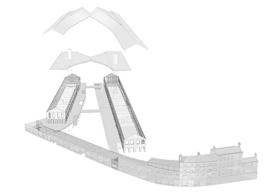 Exploded drawing of the roof strategy.