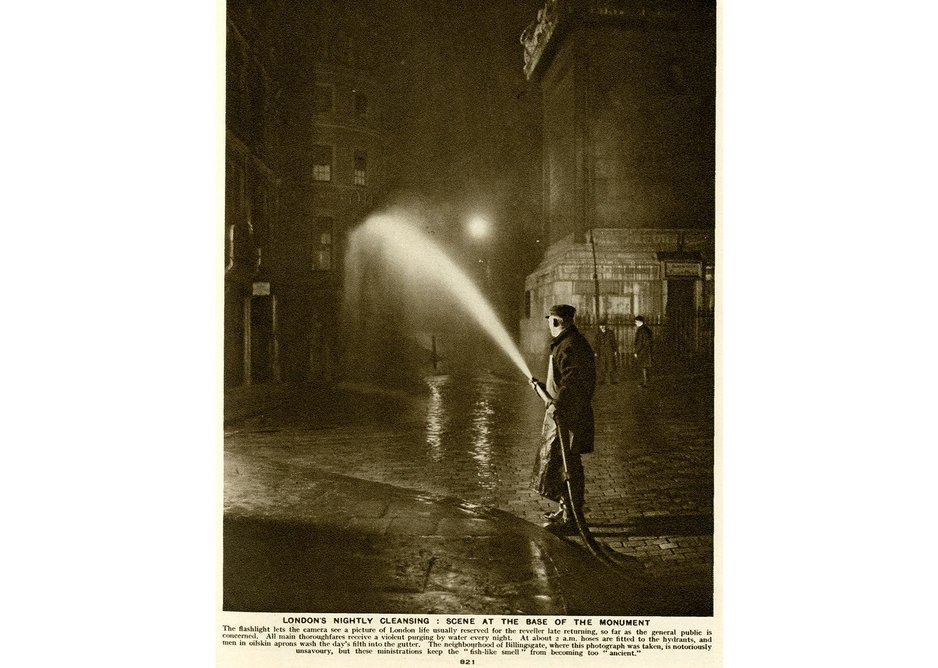 Cleaning the streets of Billingsgate, twentieth century.