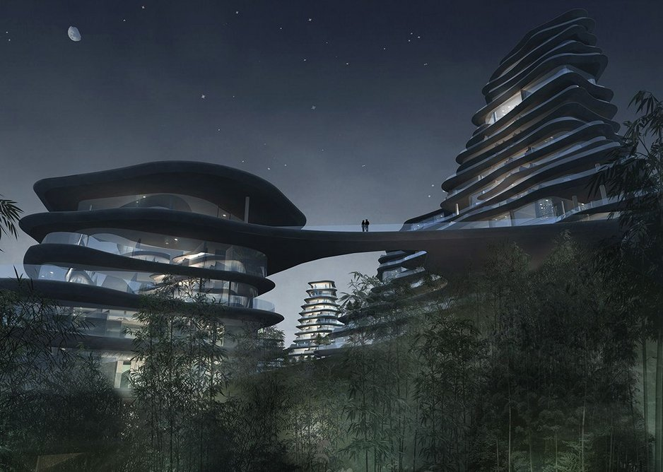 Rendered drawing of Huangshan Mountain Village, being built in Anhui province, showing how it blurs the boundaries between the geometries of architecture and nature.