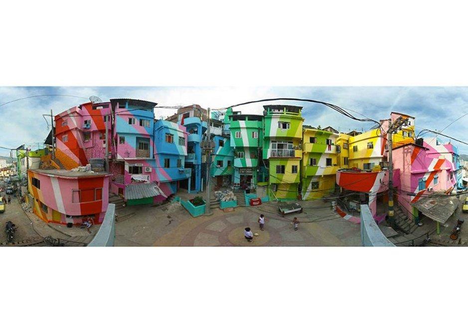 With Jeroen Koolhaas' paint treatment Praca Cantao, Rio de Janeiro favela painting. Design and photo Jeroen Koolhaas