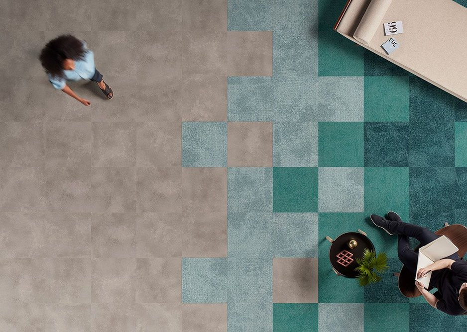 Level Set LVT flooring in Polished Cement with Composure carpet tiles in Wave, Harbour and Abyss.
