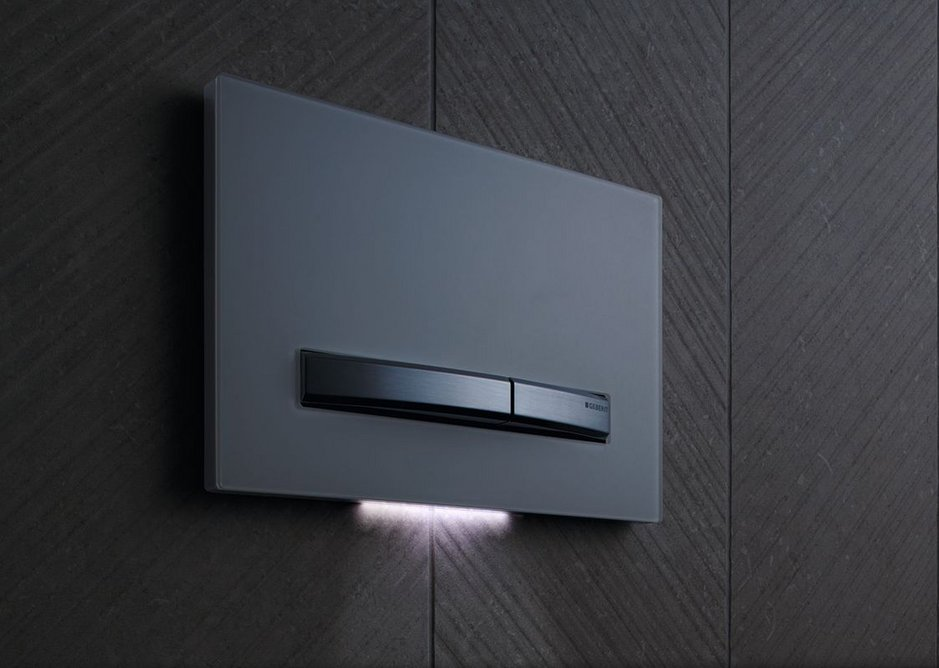 Geberit's Sigma50 flush plate features built-in orientation lighting that casts a soft glow, helping to preserve the sanctity of sleep.