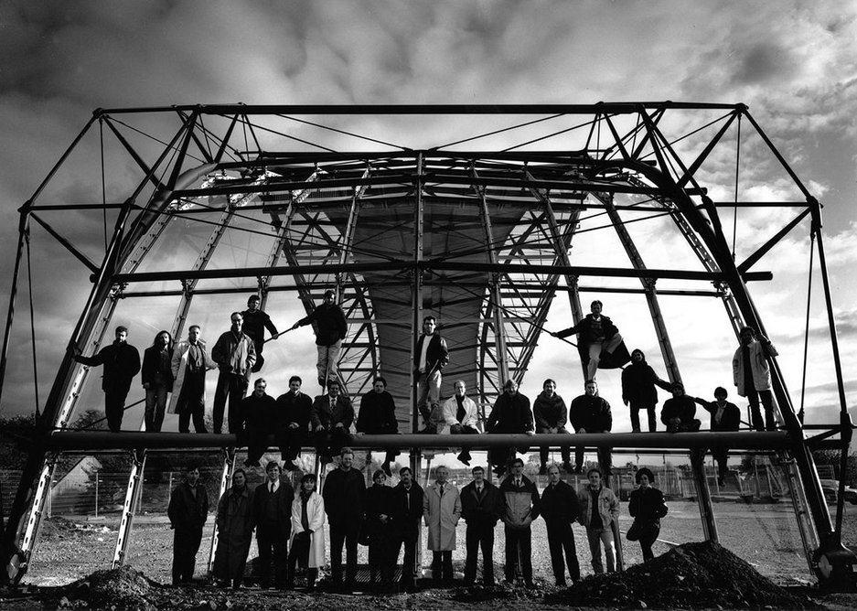 International Terminal Waterloo team visit the full-size roof mock-up at the steelworks in Wetherby, Yorkshire.