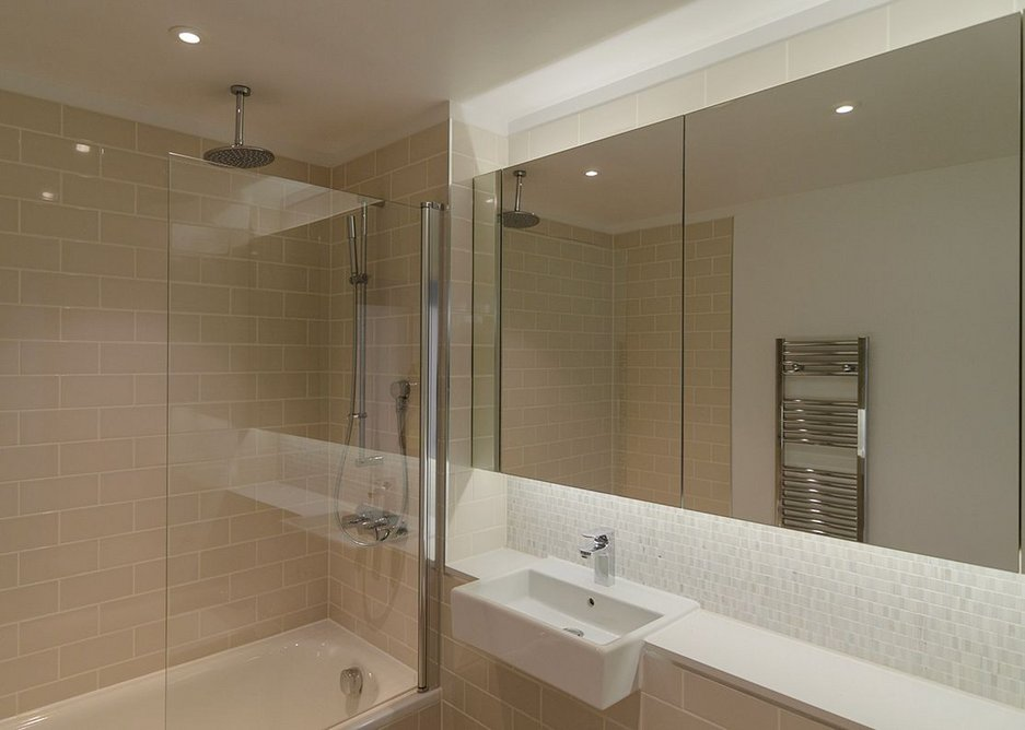 The same sanitaryware was specified across tenures but materials and finishes were more robust in rented apartments.
