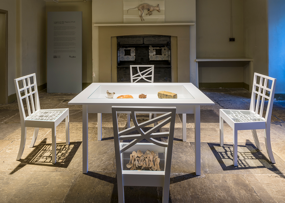 Installation view of Langlands & Bell - Degrees of Truth in the Kitchens of Sir John Soane's Museum. Above the fireplace is Wind Dried Whippet, 1982.  Artists' collection.