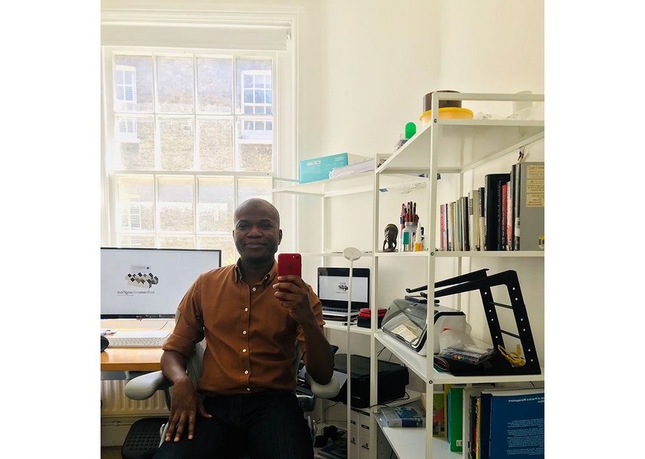 David Ogunmuyiwa takes a selfie, working from home during the lockdown.