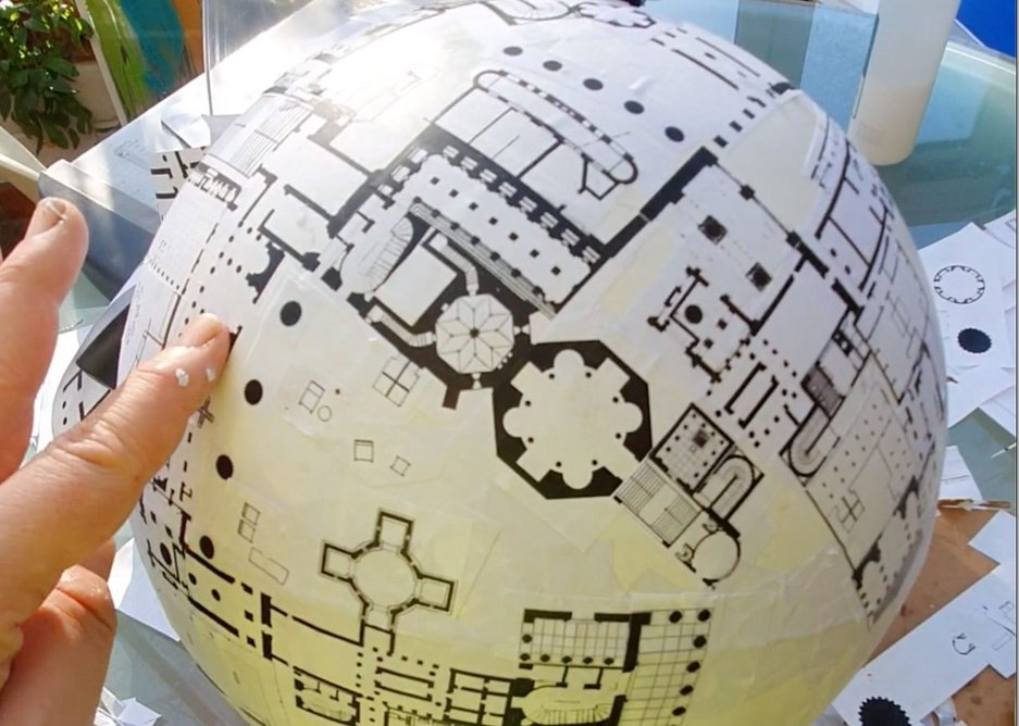 World of Interiors – World of Interiors globe project in progress (left) and complete (right), by Sam Jacob