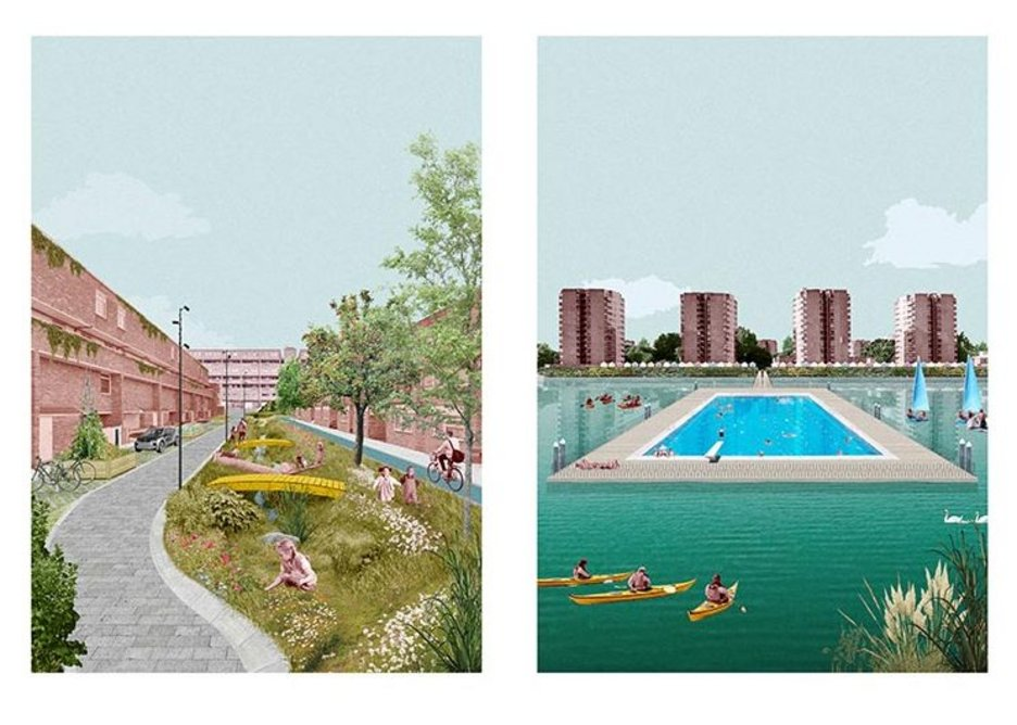 Thamesmead Re-imagined, digital collage