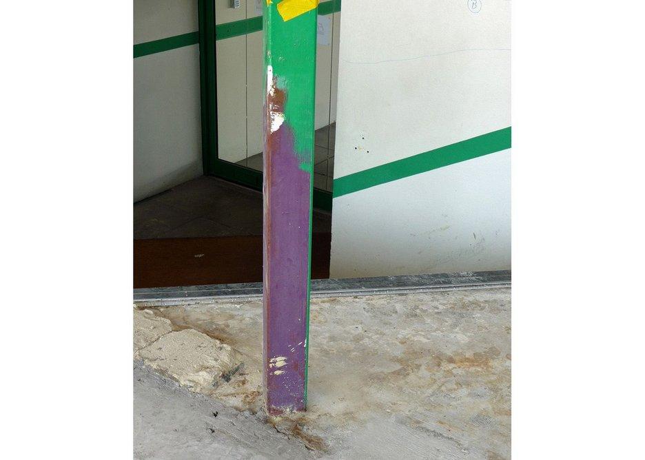 Original purple paint to steelwork revealed.