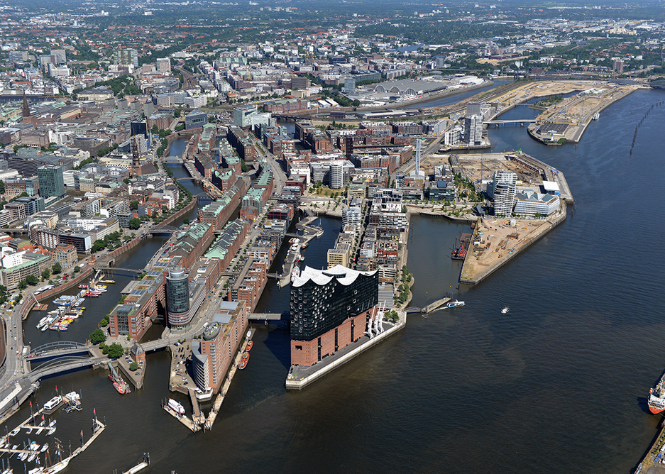 Aerial view of Hafencity in Hamburg, designed by KCAP with elevated buildings and landscaping to cope with flooding.