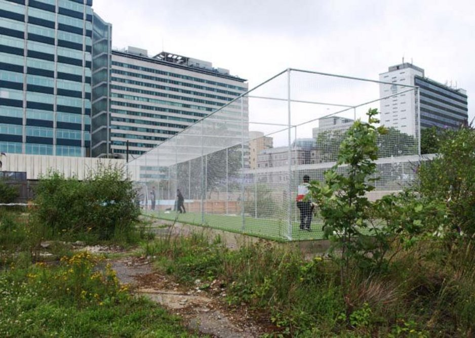 Practising in the cricket nets of East Croydon's Ruskin Square, designed by Muf.