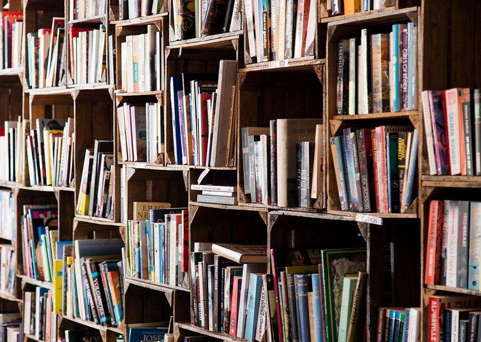 Apple boxes into bookshelves.