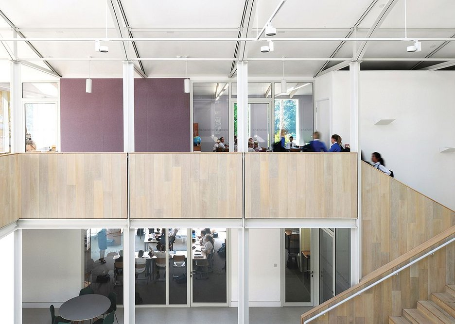 Private classes are separated from the public atrium area by wide circulation and a breakout space.
