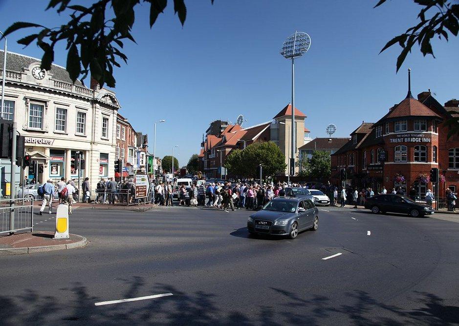 Spectators arriving at Trent Bridge cricket ground, Nottingham.