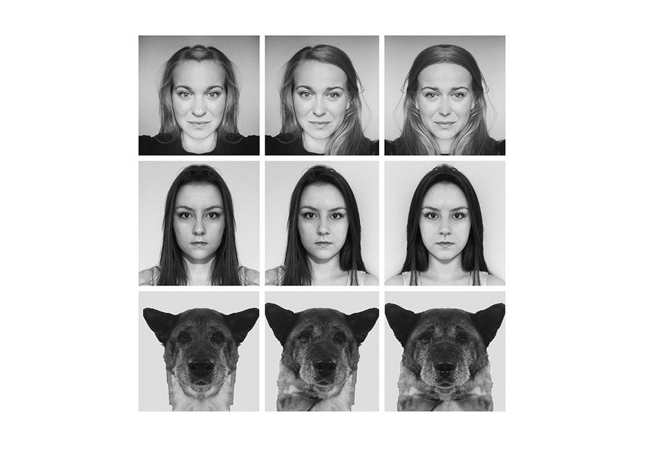 Photos of designers Anna Marta Scibior, Sarka Gulasiova and studio dog Chiba have been manipulated to show how they'd look if their images were symmetrical. These images are shown to the left and right of the original photos