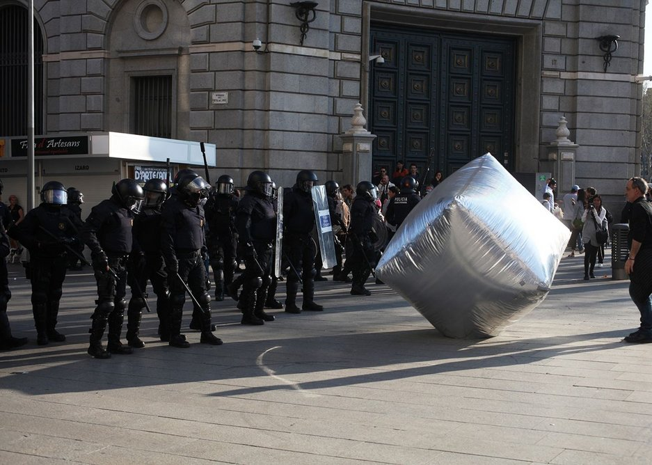 Inflatable cobblestone from Eclectic Electric Collective during the General Strike in Barcelona.