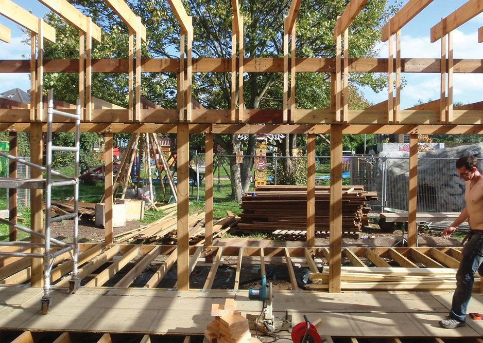 t's a beautiful, delicate timber system as designed by Walter Segal. Here it is under reconstruction at Oasis.