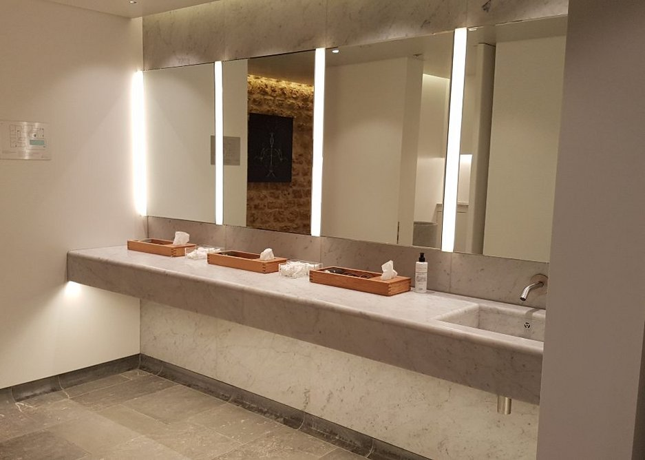 Schlüter Kerdi Board was also used for the spa changing room vanity units.