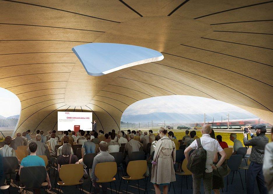 Visualization of event canopy interior view ( Render: Martin Ritt, Michael Sohm)
