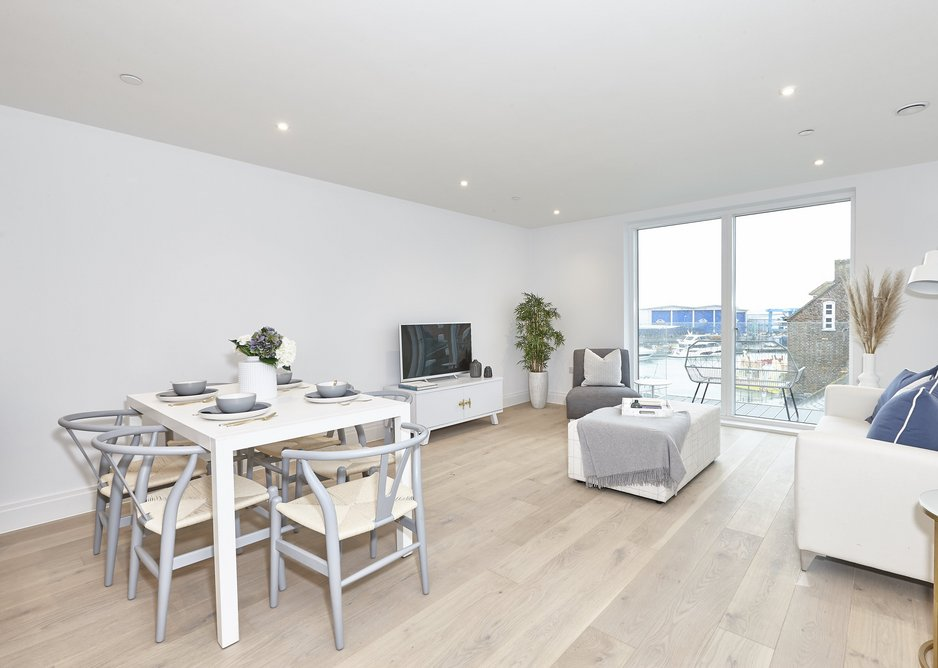An open-plan design creates a contemporary feel in the historic setting of Poole Quay.