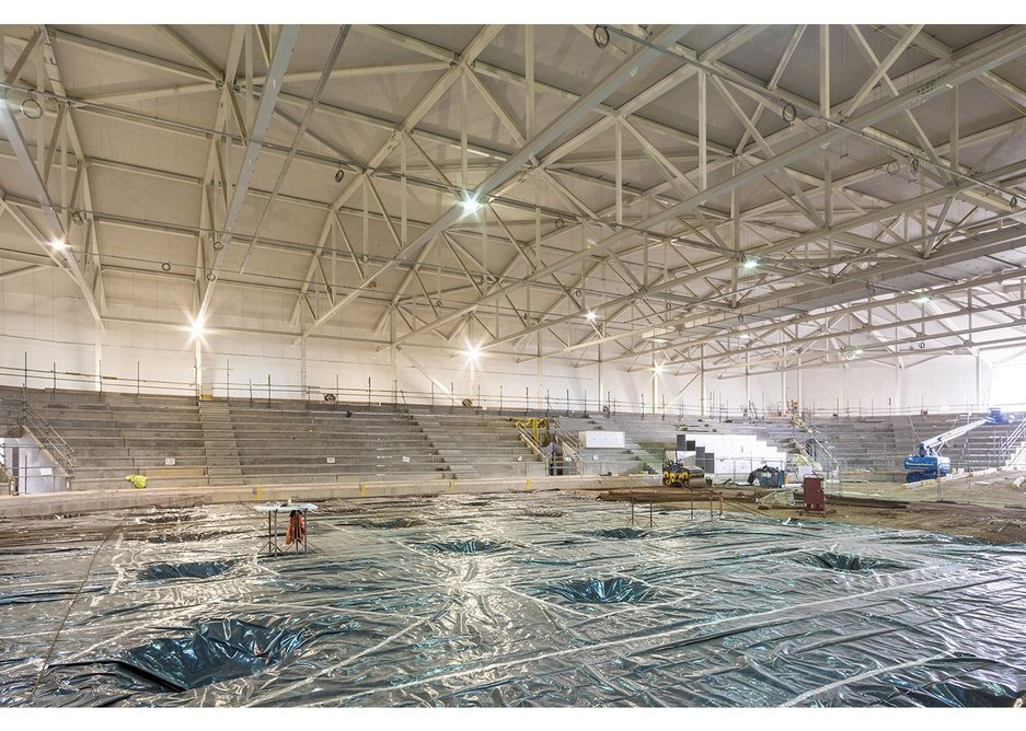 Dry wall construction is suitable in all manner of buildings, including here at the Ice Arena Wales.
