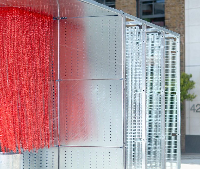 Be Well Pavilion designed by WR-AP architects for Clerkenwell Design Week 2019 exhibits many formats of galvanized steel.