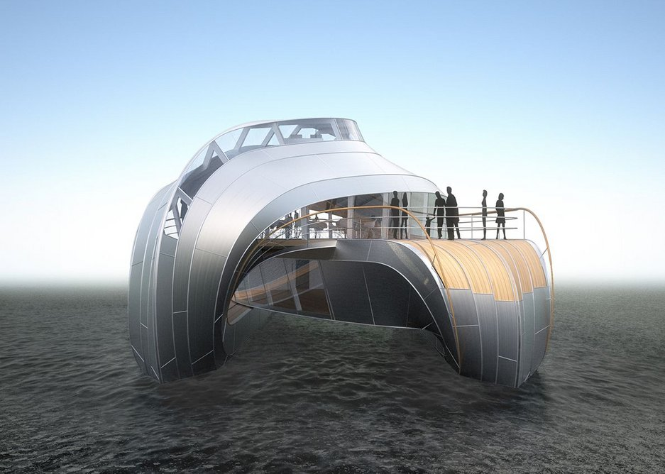 Bateau design for River Loire, a catamaran with the boat growing out of the hull.
