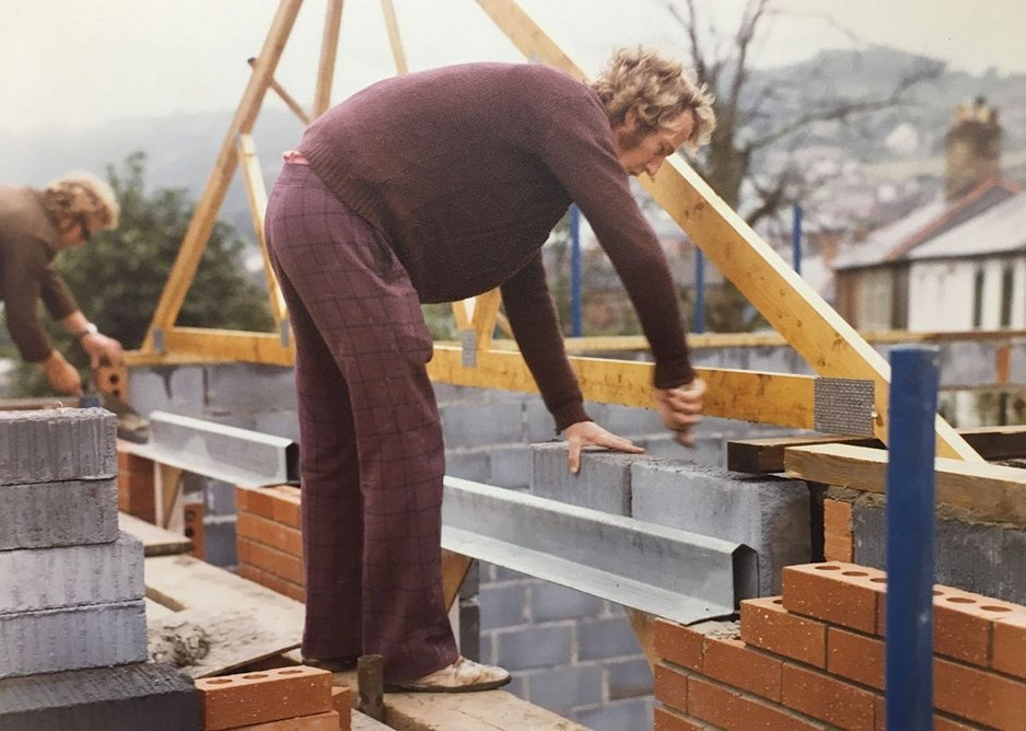 Installing an IG lintel - circa 1980.