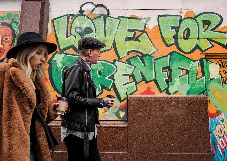 Graffiti at Ladbroke Grove in honour of Grenfell Tower.